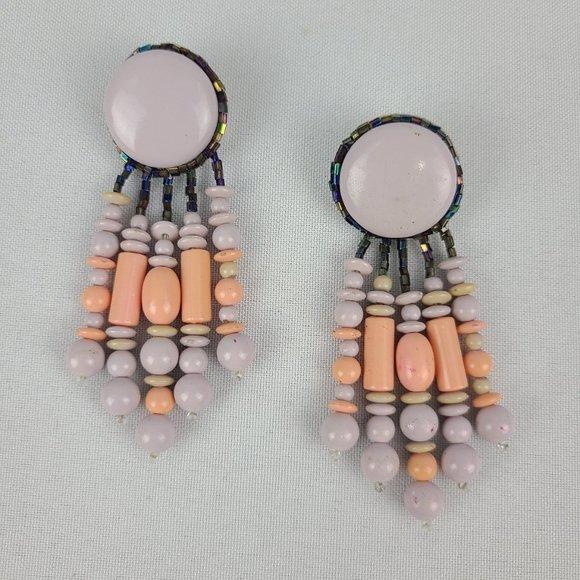 Vintage Lavender & Peach Statement Earrings